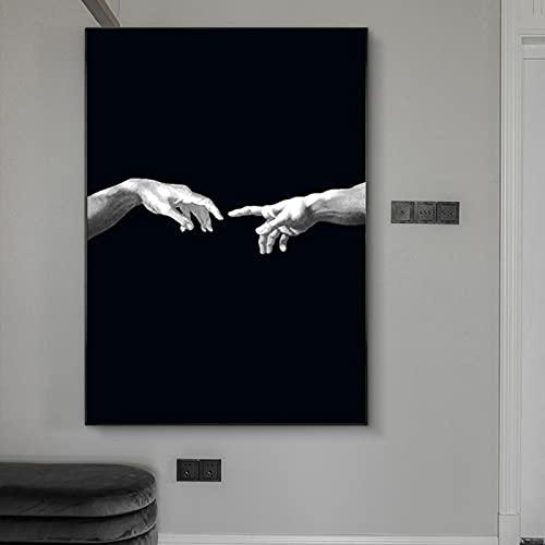 Hand till hand på svart mark kanvas på väggkonst affischer dekor skapelse av kreativitet kanvas konstbilder 40 x 50 cm 1 PS ingen ram