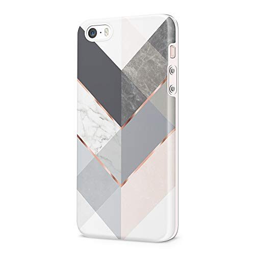 Obbii Case Compatible with iPhone 5/5S/SE/1st Protective Case Geometric Black Grey Marble Slim Soft TPU Silicone Shockproof Cover Compatible iPhone 5/5S/SE/1st(2016)