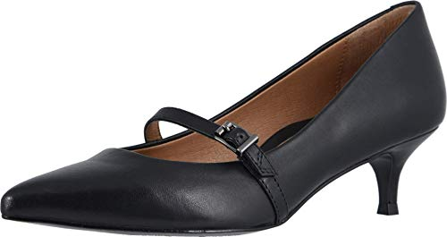 Vionic Women's Kit Minnie Mary Jane Heel - Ladies Kitten Heels with Concealed Orthotic Arch Support Black Leather 6 Medium US