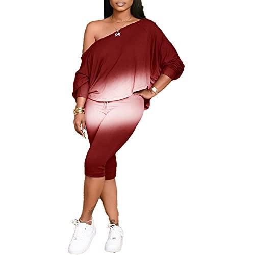 Vialogry Plus Size 2PCS Abiti da donna a maniche lunghe a maniche lunghe con pantaloni corti a vita alta, Rosso vinaccia, L