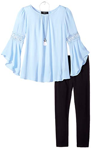 Amy Byer Girls' Bell Sleeve Top and Leggings 2-Piece Set with Necklace, Chambray Blue, S