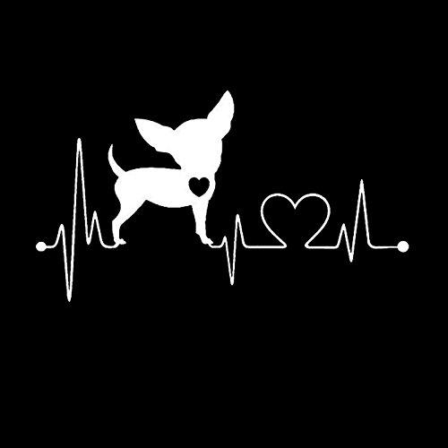 XLYDF Heartbeat - Adhesivo decorativo para coche, PVC, diseño de animales, impermeable, color blanco, tamaño: 25 cm
