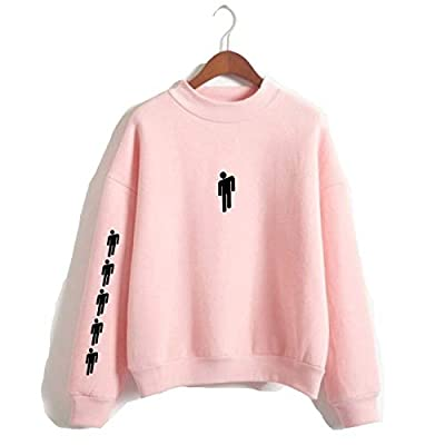 Billie Eilish When We All Fall Asleep Where Do We Go Round Necklace Sweatshirt for Fans (13805-Pink, Medium) from ASZX