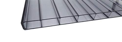 Stegplatte aus Polycarbonat graphit anthrazit  Doppelstegplatte  longlife Deluxe  16mm stark   Hagelsicher bis 40mm Hagelkorndurchmesser  Steg 2 Fach   16/32 980mm x 6000mm (B x T)