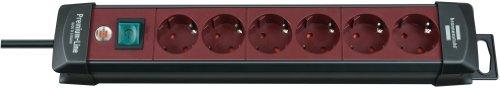 Brennenstuhl Premium-Line, Steckdosenleiste 6-fach (Steckerleiste mit Schalter und 3m Kabel - 45° Winkel der Schutzkontakt-Steckdosen, Made in Germany) rot