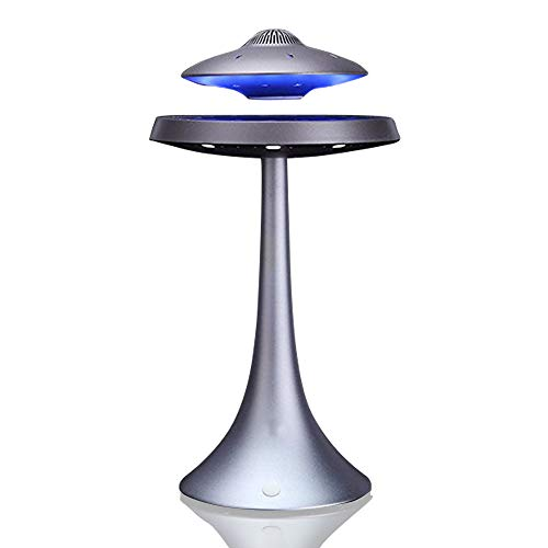 Levitating Floating Speaker, Magnetic UFO Bluetooth Speaker V4.0, LED Lamp Bluetooth Speaker with 5W Stereo Sound, Wireless Charge, 360 Degree Rotation, for Home/Office Decor,Unique Gifts(Grey)