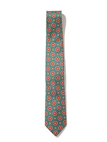 SILBON - Corbata verde figuras mostaza para Hombre