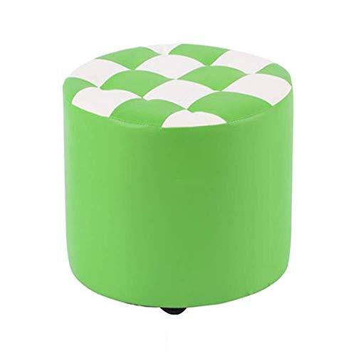 Syxfckc Taburete pequeño Hogar Moda Sofá heces de Madera sólida de la PU del Taburete de la Sala Mesa de Taburete redondo-30x27cm (Color : Green)