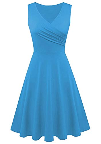 EFOFEI Damen Sommer Swing Dress Ärmelloses Wickelkleid mit V-Ausschnitt Hellblau M