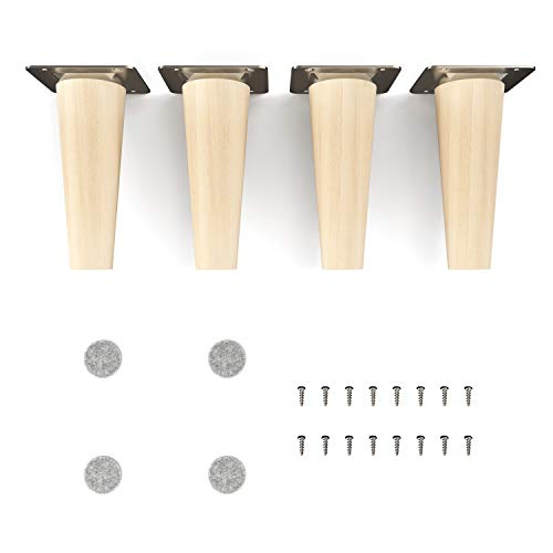 sossai® Holz-Möbelfüsse - Clif | Natur (unbehandelt) | Höhe: 12 cm | HMF1 | rund, konisch (gerade Ausführung) | Material: Massivholz (Buche) | für Stühle, Tische, Schränke etc.