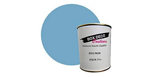 Peinture acrylique aspect velours Aqua déco - Murale - 44 couleurs - 0,7 L - 7,5 m² (Bleu paon)