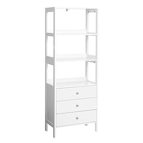 VASAGLE Badezimmerschrank, Badschrank mit 3 Schubladen, Hochschrank mit 3 offenen Fächern, 55 x 30 x 155 cm, skandinavischer Stil, mattweiß BBC163W01