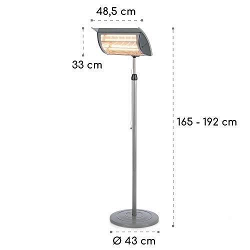 blumfeldt Heat Guard Focus • Terrassenheizstrahler • Infrarot-Heizstrahler • IR ComfortHeat • 1000 oder 2000 W • Easy Control • Halogen • höhenverstellbar • Außengebrauch • Aluminiumgehäuse • grau - 8