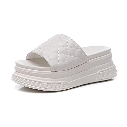 WUHUI Zapatillas de baño Mujeres Zapatos de Playa y Piscina, Zapatos Casuales de tacón Alto, Pantuflas de Gran Altura con Suela Gruesa-White_36, Piscina Sandalias de Baño