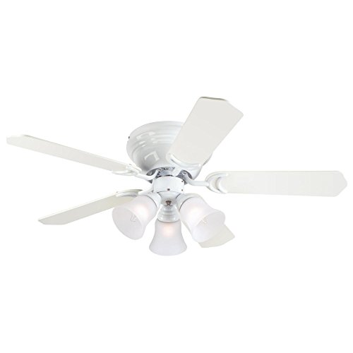 Westinghouse Lighting 7215000 Contempra Trio 42-Inch White Indoor Ceiling Fan, Light Kit with Frosted Glass, Includes Bulbs