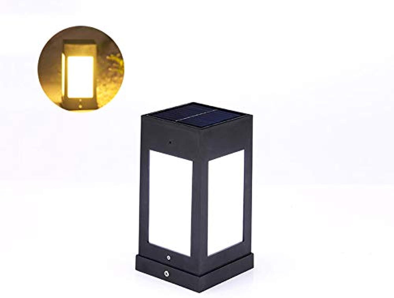 HDMY Solarenergie Zaunpfosten Laterne Im Freien Wasserdichte Quadratische Sule Licht Villa Hof Wandleuchte Super Helle Hauptsule Lampe (Farbe   Warm light)
