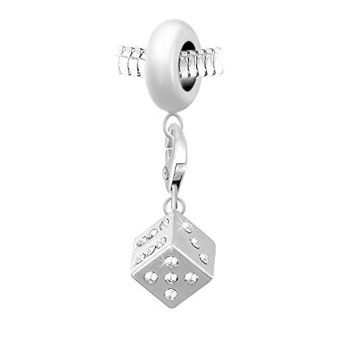 SC Crystal – Abalorio para mujer, tono plata, colgante perleen de acero,...