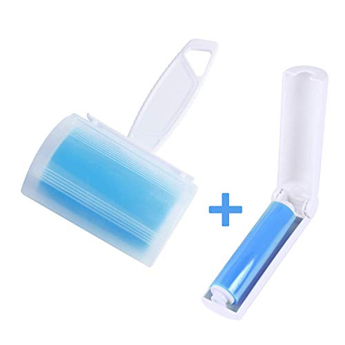 Anjing Fusselrolle für Haustierhaare, waschbar, mit Bezug und Reise-Roller, Blau, 2 Stück