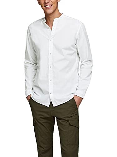JACK & JONES JJESUMMER Band Shirt L/S S20 STS Camicia, Bianco, M Uomo