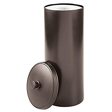 InterDesign Kent Free Standing Toilet Paper Holder – Spare Roll Storage for Bathroom, Brown