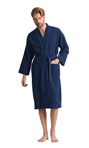 Men's Robe, 100% Turkish Cotton Long Waffle Spa Bathrobe, Diamond Pattern (Medium, Navy)