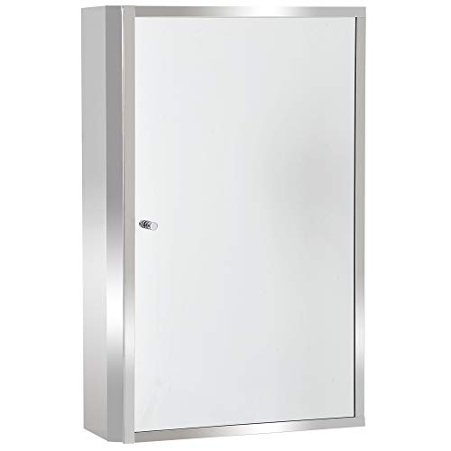 HOMCOM Spiegelschrank Badschrank Hängeschrank Badmöbel Wandschrank Mehrzweckschrank Edelstahl Silber 60 x 40 x 13 cm