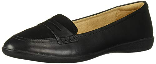Naturalizer womens Finley Loafer Flat, Black Leather/Suede, 9.5 Wide US