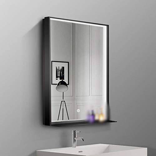 ZXCV Led-badkamerspiegel, 600 x 800 mm, licht met sensor + demister, opbergruimte voor make-up en scheerapparaat, wandhouder, zwart