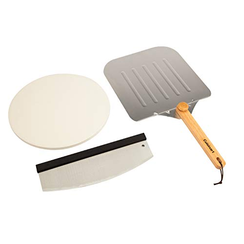 Cuisinart Deluxe Grilling Pack Stone, Peel, Pizza Cutter, Aluminum