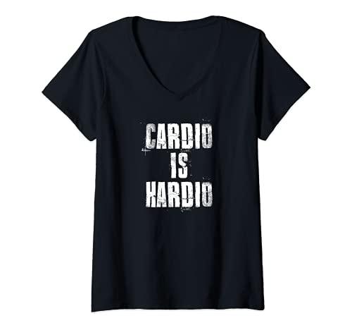 Mujer Cardio es Hardio inspirador ejercicio cardiovascular motivacional Camiseta Cuello V