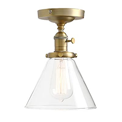 Permo Vintage Industrial Semi Flush Mount Ceiling Light Fixture Pendant Lighting with Funnel Flared Clear Glass Shade