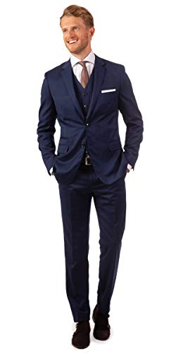 Linus Eleganter Herren Slim Fit Dreiteiler Anzug in blau (48)