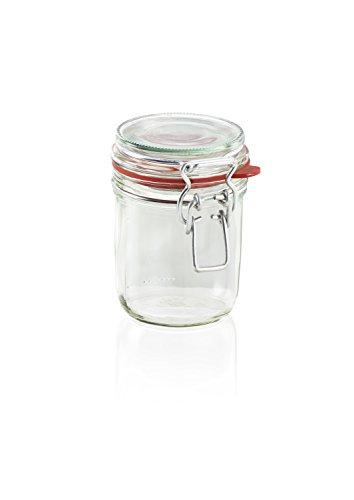 Leifheit Drahtbügelglas, 370 ml, spülmaschinenfestes Einmachglas, Vorratsglas zum Einlegen, Einmachen und Einkochen, dekoratives Einmachglas mit Deckel