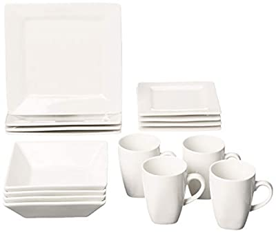10 Strawberry Street 16 Piece Square Dinnerware Set, Cream White