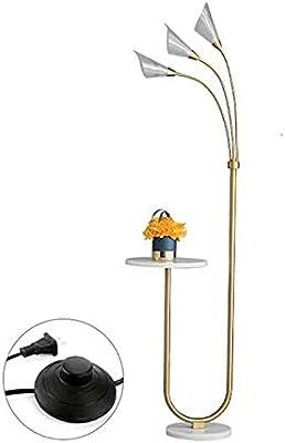 ZCYY Lampadaire de Table Basse, lampadaire réglable à 3 lumières, avec Plateau, Abat-Jour de Lecture en Acrylique, Lampe sur Pied à Interrupteur à Pied, pour Salon, Chambre à Coucher, b