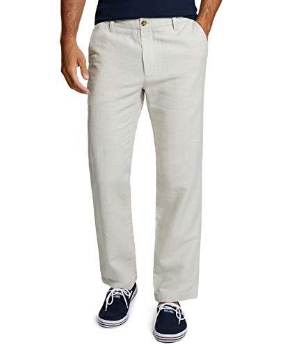Nautica Men's Flat Front Linen Pant, Wheat Flax, 36W 32L