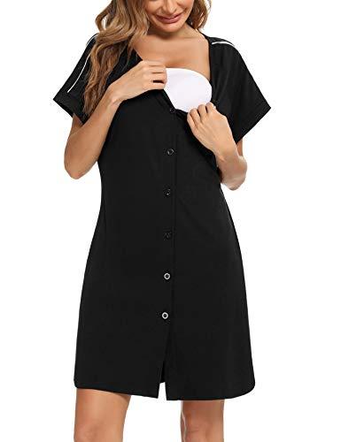 iClosam Damen Nachthemd Kurzarm Schlafshirt Loose fit Nachtkleid Baumwolle Geburt Stillnachthemd Schwangerschaft Schlafanzug Pyjama Sommer Umstandskleidung mit Durchgehender Knopfleiste - M