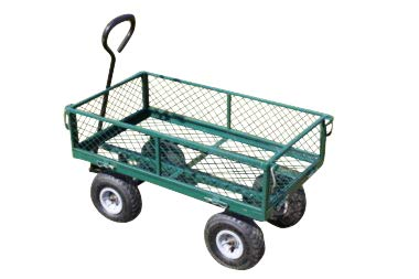 Garden Market Place Large Green 4 Wheeled Garden Trolley with Drop Sides