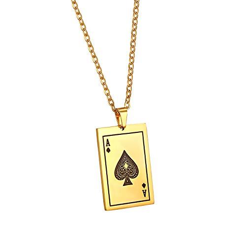 Cupimatch Collana da Uomo con Ciondolo Modello Asso di Picche,Collana alla Moda Poker Pendente in Acciaio Inossidabile Colore Oro Perfetto Regalo