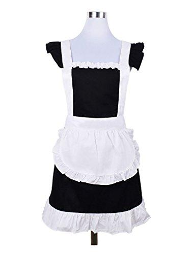 Delantales con volantes para niña, diseño de patata con bolsillo (blanco y negro)