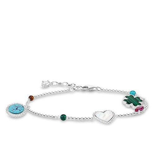 Thomas Sabo Damen-Armband Riviera Colours Glam & Soul 925 Sterling Silber Länge von 16 bis 19 cm A1763-479-7-L19v