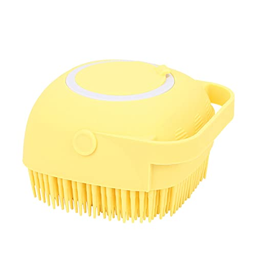 XIJIAJK Bath Scrubber-Multi-Function Gel Bath Brush, Body Cleaning Pore Exfoliator,Apply to Head Scrubber, Scalp Massager/Brush, Wet and Dry, Easy to Clean (Yellow)