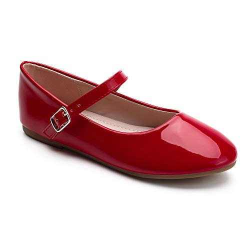 Trary Red Girls Dress Flats Slip on Shoes Size 11