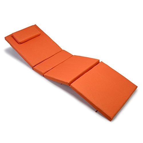 Nexos, Hochwertige Liegen-Auflage Sitz-Polster mit Kopfkissen für Sonnenliegen Sauna Garten Terrasse Camping, feste Qualität, dick bequem wasserabweisend abwaschbar, orange