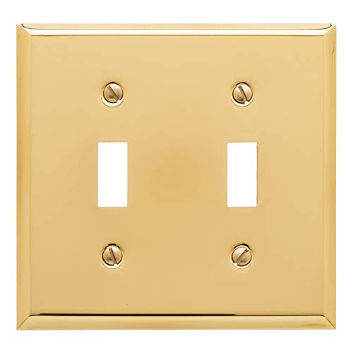 Baldwin Estate 4761.030.CD Square Beveled Edge Double Toggle Switch Wall Plate in Polished Brass, 4.5'x4.5'