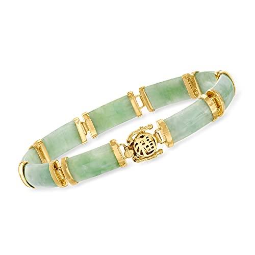 "Ross-Simons Jade""Good Fortune"" Bracelet in 18kt Gold Over Sterling. 7.5 inches"