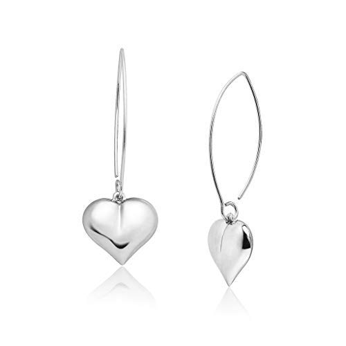 Big Apple Hoops - Valentine Love Heart Dangle Drop Earrings Made from Real Solid 925 Sterling Silver with Protective Electrocoated Finish for Maximum Anti-Tarnish