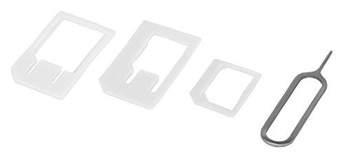 4 in 1 Nano Sim u. Micro Sim Adapter KOMPLETT-SET mit 1x Simnadel Eject Pin in weiß - Nano Sim auf Micro Sim, Nano Sim auf Standart Sim, Micro Sim auf Standart Sim. Adapter