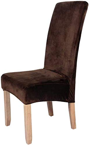 smiry Stretch Chair Covers for Dining Room,Coffee Set of 6 Velvet Large Dining Chair Slipcovers