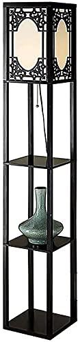 LZXH Lámpara de pie LED Moderna para estantes con Pantalla de Tela, estantes de exhibición para Sala de Estar, Dormitorio, Oficina, Estilo Chino, lámpara de pie Vintage (Interruptor de Tiro), lámpara